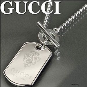 """New Authentic Gucci Crest Dog Tag Necklace 20"""""""